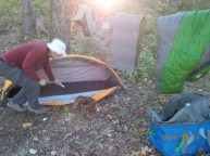 Morning in camp, Bell Island