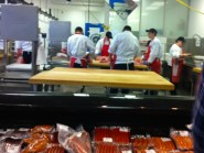 Busy students in the meat-cutting program