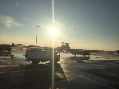 Getting ready to de-ice our plane