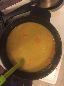Cooking at home: yummy lentil soup made with broth from my turkey bones