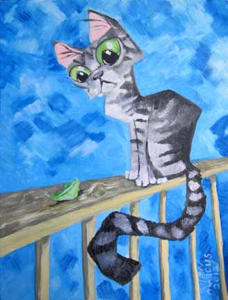 "Missing/Stolen: ""Cat & Leaf"" - Acrylic - 11""x14"""