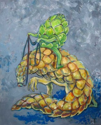 "For Commission: SOLD ""artichoke riding armadillo"""
