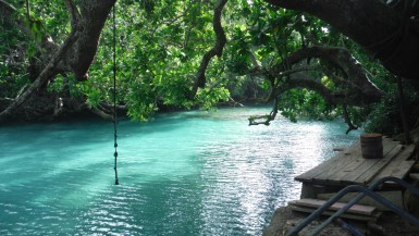Blue lagoon rope swing