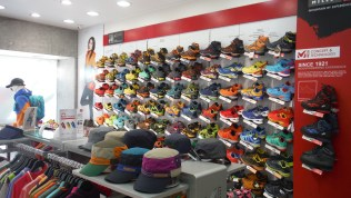 Korean LOVE outdoor clothes, it's full of these shops. Millet, Columbia, Salomon,...