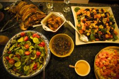 Each meat and salad with its own accompaniment