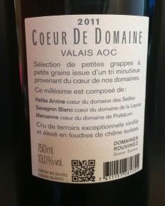 wine white blend Coeur du Domaine 2011 Rouvinez2_210214