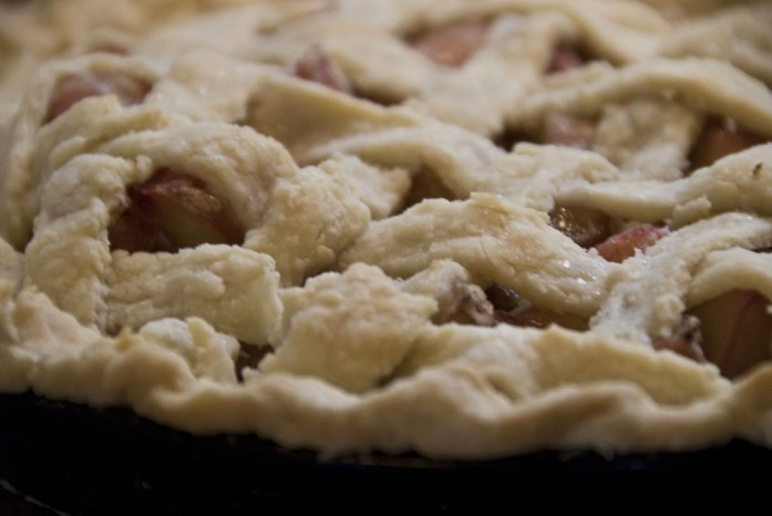 Fresh out of the oven, rhubarb pie at my house version 2013