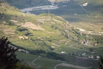 Valais vineyards, Miège and Salgesch, seen from above