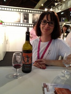 Noémie Graff with one of her red specialty wines, Carminoir