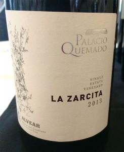 wine red Spain La Zarcita 2013 Palacio Quemado_290415