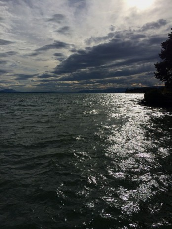 Lake Geneva 14 September, chilly, windy and damp - looking towards Geneva from St Prex