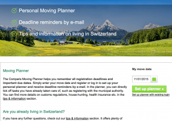 New Comparis web pages for people moving to Switzerland