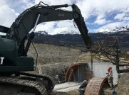 New barrel room under construction this week at Mercier winery in Sierre
