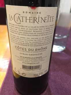 A fine local wine ordered for dinner at a small Goudargues restaurant