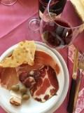 Sardinia Oliena Agriturismo Camisadu wine red Cannonau pane carasau dried meats_191016