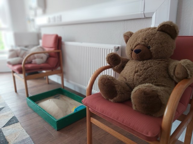 Teddy bears at home in the Beaumont Room in the Ellesmere Centre, Beverley Road