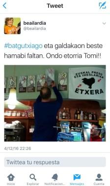 """""""Uno menos y en Galdácano faltan otros 12 . ¡Bienvenido, Tomi!"""""""