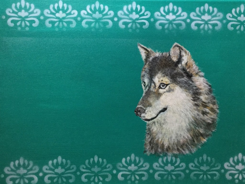 Grey Wolf Acrylic Painting: