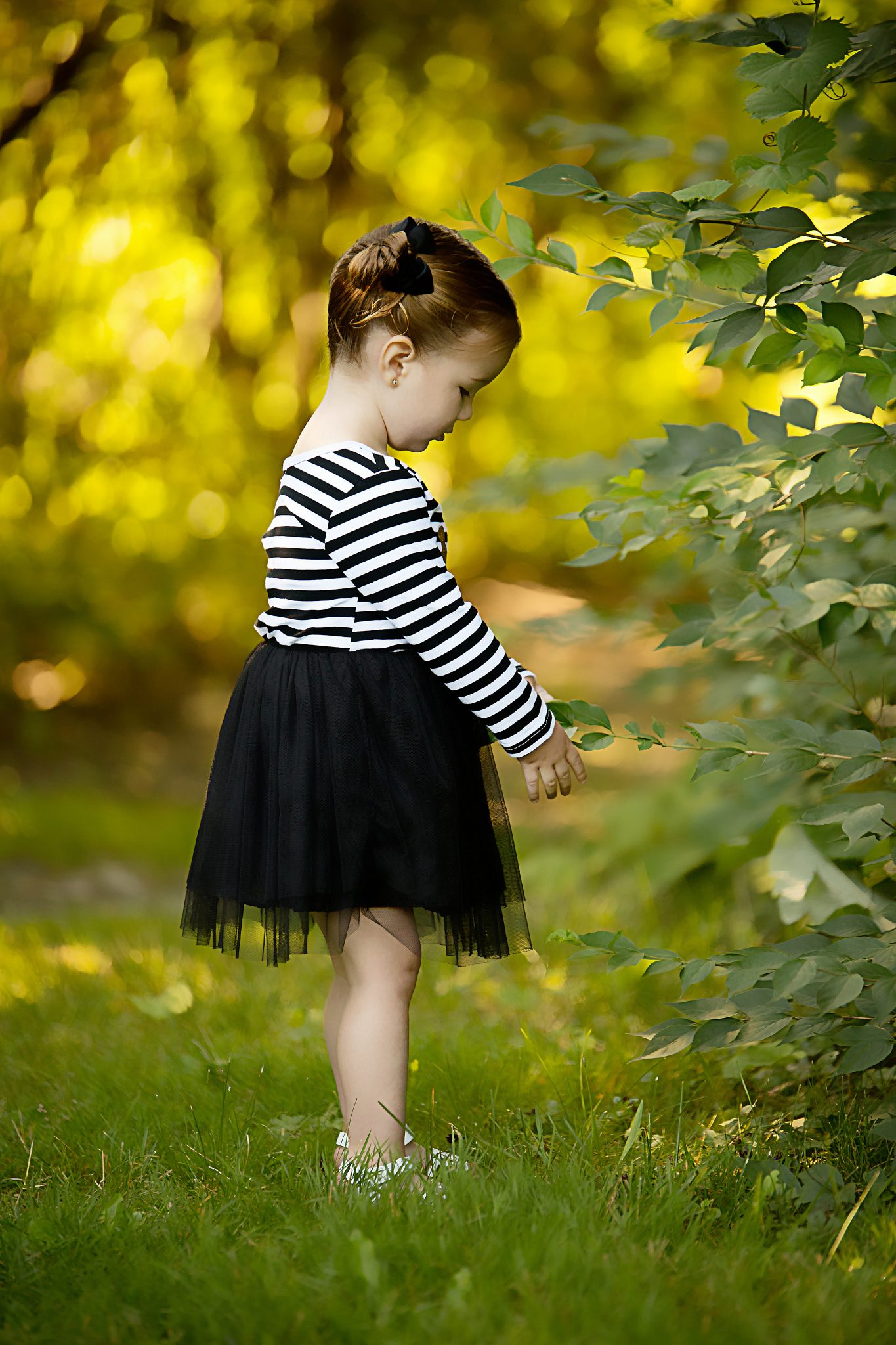 little girl playing with leaves on a bush with golden light behind her