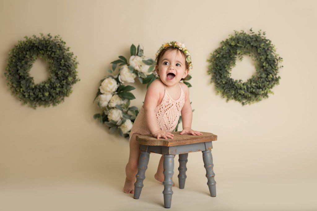 one year old girl during her in-studio milestone session