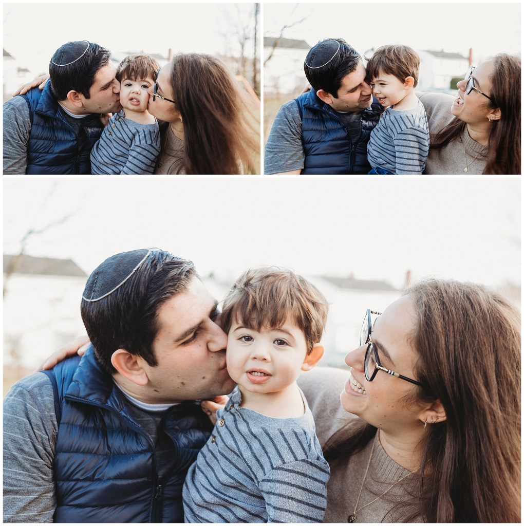 collage of photos from a family session, two parents and little boy