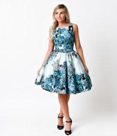 1950s_Retro_Teal_Rose_Floral_Collage_Flared_Tea_Dress_4