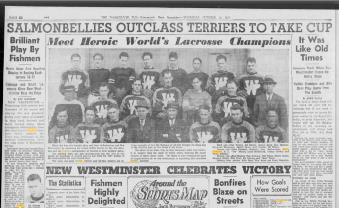 New Westminster Salmonbellies 1937