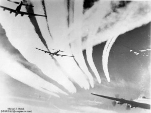 WWII Bombers with contrails from fighter escorts