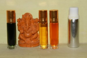 Ayruvedic Oils: from right to left, Lavender, Saffron oil, Sandalwood oil, Lotus oil