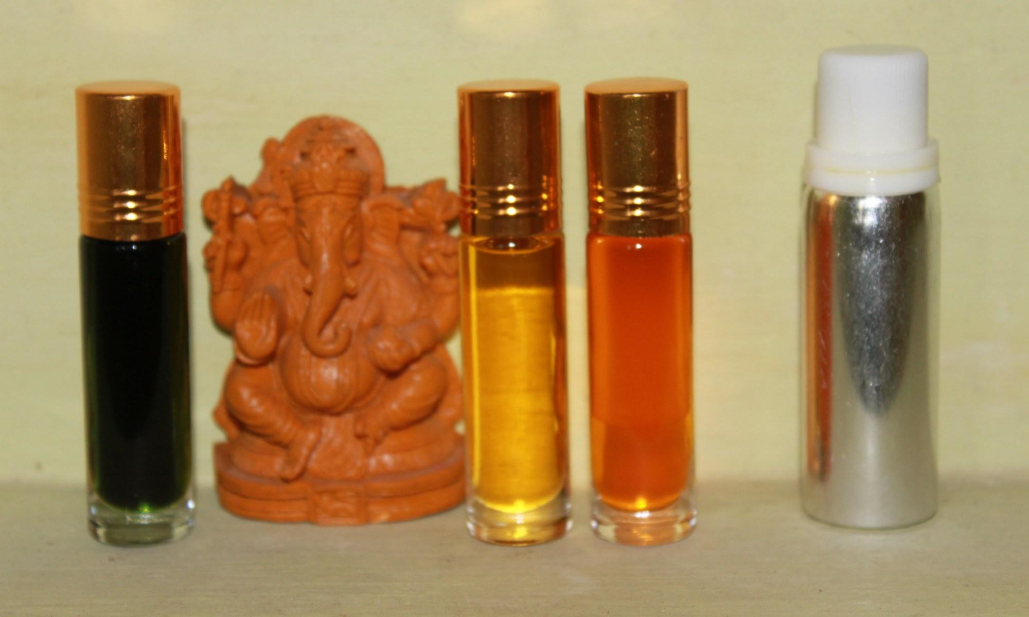 Ayruvedic Oils: from right to left, Lavender, Saffron oil, Sandalwood oil, Lotus oil