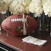 Nfl wedding, garter toss, bouquet toss ideas