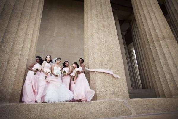 nashville, bridesmaids, bride, pink