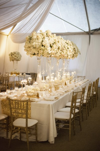 luxury wedding decor, white centerpieces, gold and white wedding