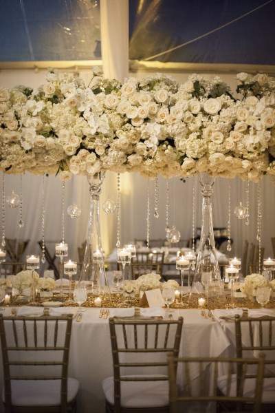 large centerpieces, roses, gold, white