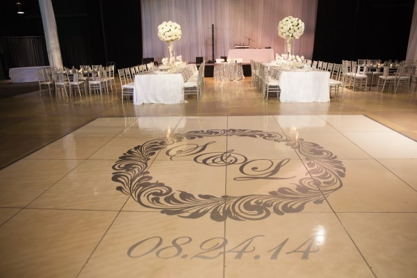 monogram dance floor, white, silver
