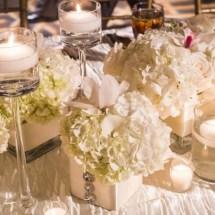 lush florals, white centerpieces