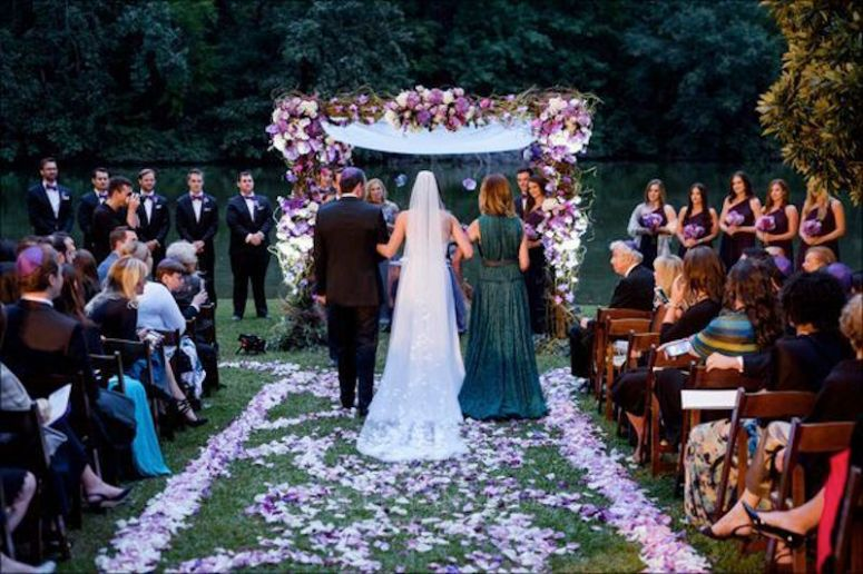 sunset wedding, under a chuppah