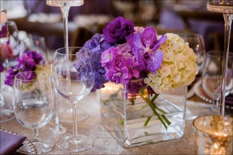 square vases filled with flowers, orchids, stock, hydrangeas