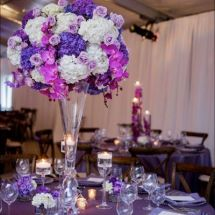purple centerpiece, purple orchids