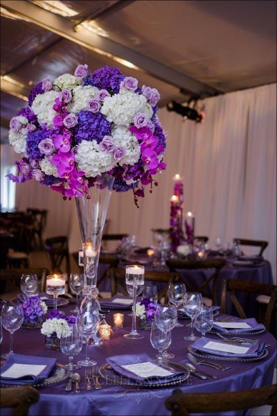 large centerpiece, hydrangeas, orchids, roses