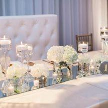 table runner, mirror, hydrangeas