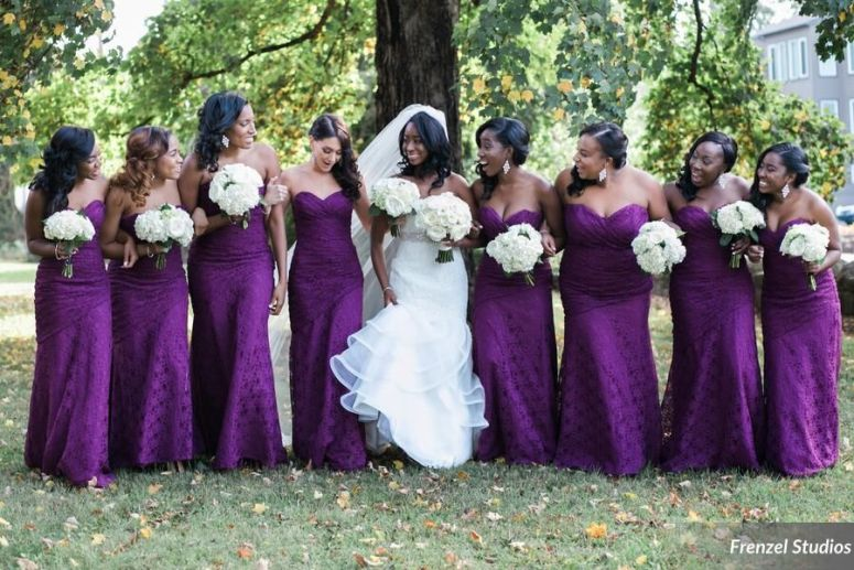 bride, bridesmaids, purple