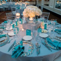 mirror vases, white centerpieces