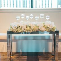 sweetheart table, rose, orchid, stemware