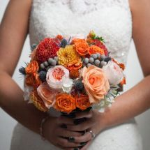 multicolored bouquet, fall wedding