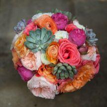 multicolor bouquet, succulent, rose