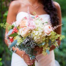 unique bouquet, greenery, rose