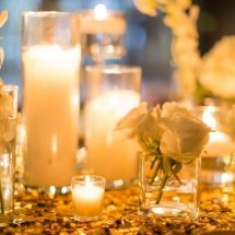 gold sequin linen, roses, candles