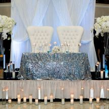 sweetheart table, centerpieces, sequin linen