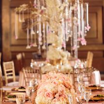 gold, pink, centerpiece